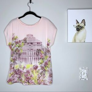 Ted Baker Pink Floral Building Graphic Print Tee